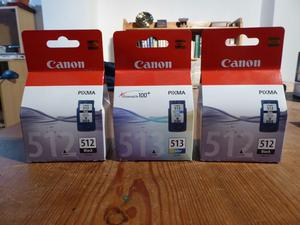 Canon inkjet cartridges. Brand new, unopened packages. 2 x black, 1 x colour.