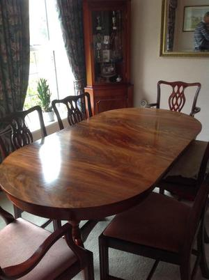 Mahogany oval extendable table and 6 chairs, dresser, corner