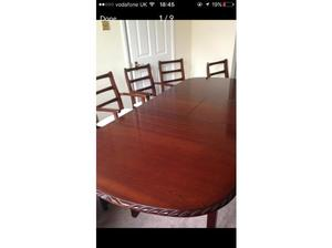 Mahogany solid wood six seater dining room table in Norwich