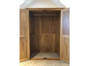 Solid oak wardrobe, three and five draw cabinets in Swansea