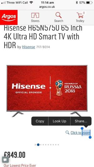 Brand new Hisense 65 inch 4K ultra hd smart led HDR tv.(NO BOX)H65N NO OFFERS.CAN DELIVER