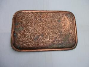 SOLID COPPER ISLAMIC / EASTERN TRAY. CRESCENT MOON SYMBOL.