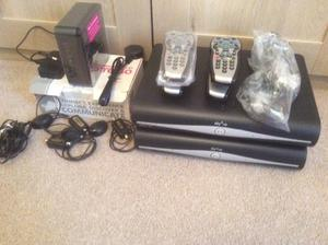 2 x Sky hd boxes & accessories