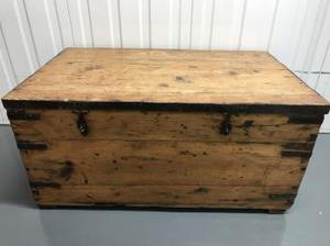 Pine and metal bound trunk, late Victorian