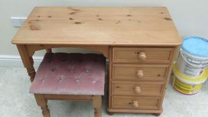 Solid pine dressing table/desk and stool