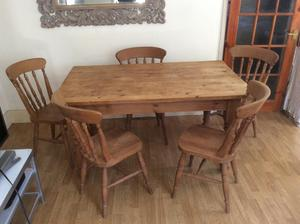 Solid Wood Large Dining Table and 5 Chairs