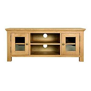 Solid oak wide TV unit with storage