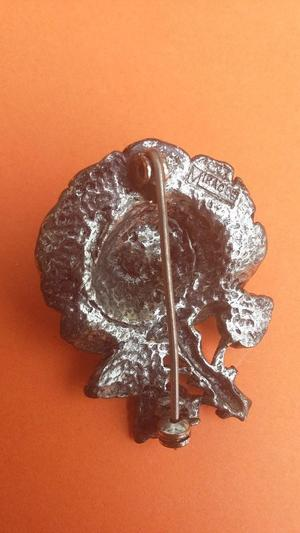 Vintage Pewter Silver Tone Rose Brooch by 'Miracle'