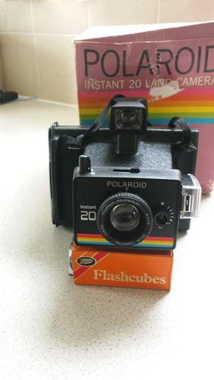 Vintage cameras, Polaroid and Box Brownie.