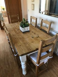 Solid Pine Table + 6 Solid Pine Chairs