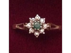 Ladies 9ct Gold Diamond & Emerald Cluster Ring Fully