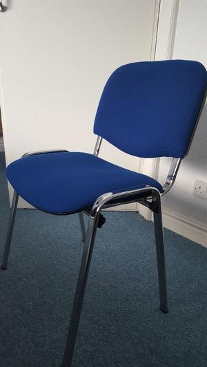 24 Office Chairs Stackable in blue with chrome legs. Job lot