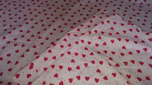 3 x Pieces of material / fabric-white with red hearts.
