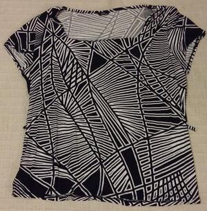 M&Co Ladies Black & White Patterned Top Size 20