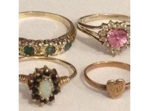 Ladies Jewellery 4x9ct Gold Rings Emerald & Diamond & Pink