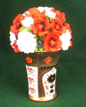NEW VASE WITH FLOWERS ORNAMENT. BOXED.