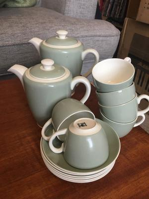 Poole Pottery Cameo Celadon Coffee Set