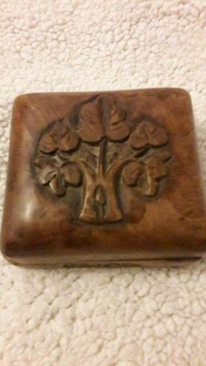 Small wooden box carved tree on top. Oak.