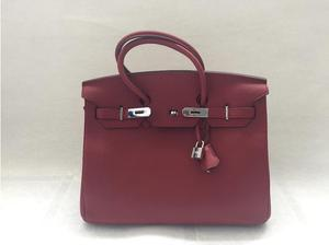 BIRKIN style bag 35 leather dark red in Havering