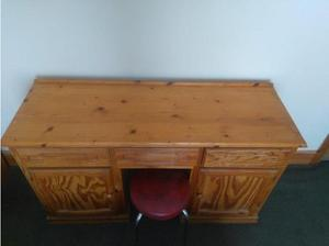 SOLID PINE DOUBLE PEDESTAL DRESSING TABLE, TWO CUPBOARDS AND