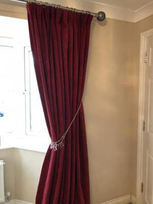 Chenille Red Curtains 219 x 229 Marks and Spencer
