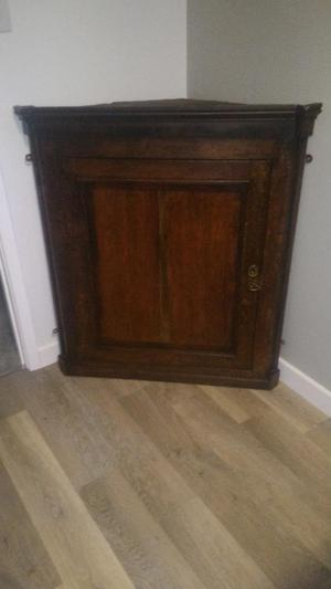 Antique mahogany hanging corner wall cabinet