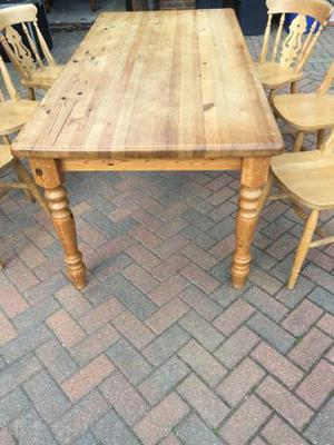 Chunky pine dining table & 6 chairs