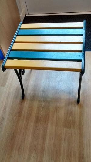 Wooden slatted seat / footstool / on cast iron stand