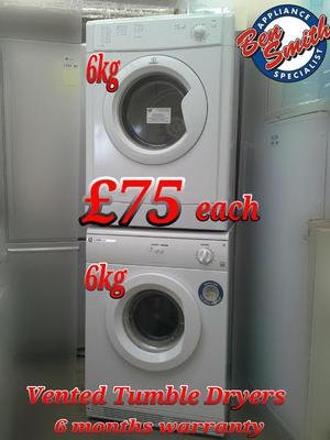 Vented Tumble Dryers White 6kg