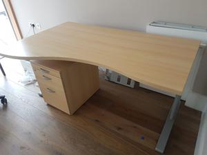 maple executive office desk with matching pedistal
