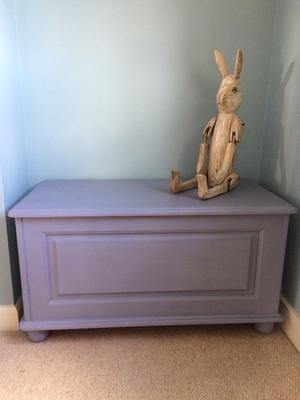 Solid pine ottoman, toy box, blanket box painted blue/ grey