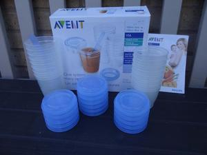 Philips Avent baby food storage pots new and unused. Approx