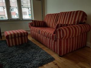 3 seater sofa with matching footstool. Sanderson red and antique gold fabric