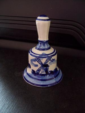 Blue Delft Deco Hand Painted Small Hand Bell Ornament