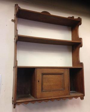antique retro vintage shelve shelf in real wood with door
