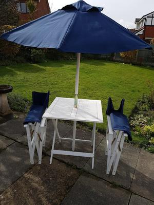 Directors chairs, table and parasol. Matching set.