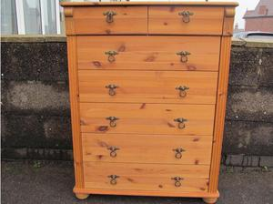 Tall Chest of 7 Drawers. Solid Pine in Burton On Trent