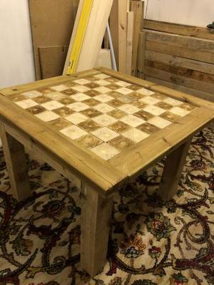 Rustic handmade Coffee table with chess board