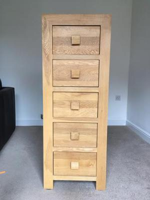Solid Oak Tall Draw Unit