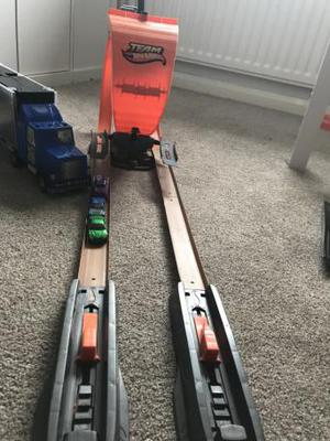 Hot wheels race track and cars