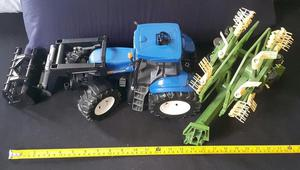 New Holland Tractor w Front End Loader and Rotary Tedder