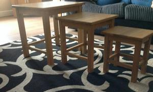 Nest of tables, solid oak