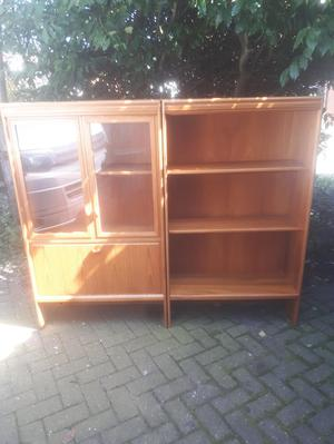 QUALITY TURNIDGE SOLID TEAK GLAZED BUREAU & BOOKCASE G PLANA