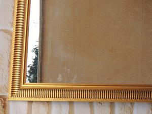 Large Gold Ribbed mirror (Delivery)