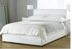 white leather kingsize bed with mattress