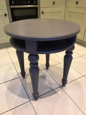 IKEA round side table in grey.