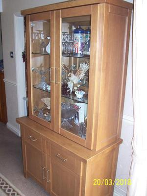 Solid Light Oak Display Cabinet