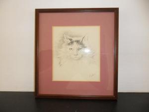 Portrait of a Cat - pencil in paper - framed