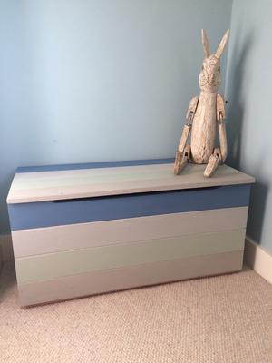 Solid pine toy box / ottoman / blanket box painted in four colours
