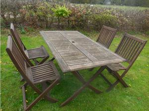Wooden garden table and 4 chairs in Matlock